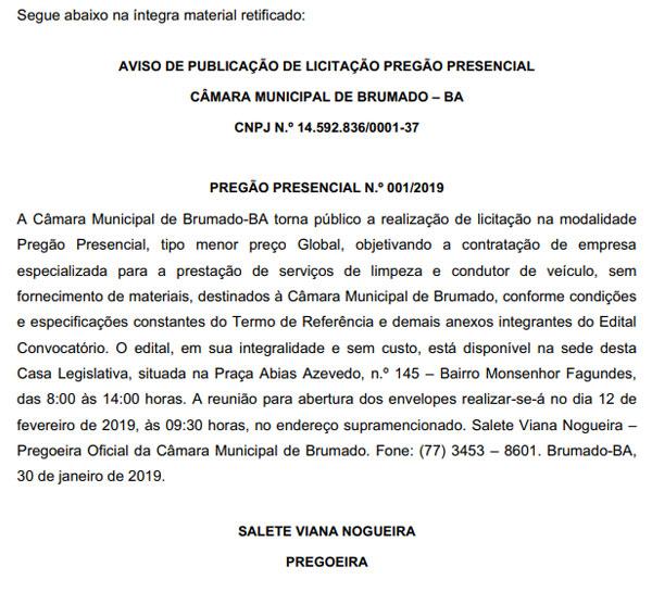 Republicação Com Correção Do Aviso De Publicação De Licitação Pregão Presencial N.º 001/2019
