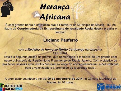 Artista Brumadense recebe Honraria especial da prefeitura de Macaé-RJ