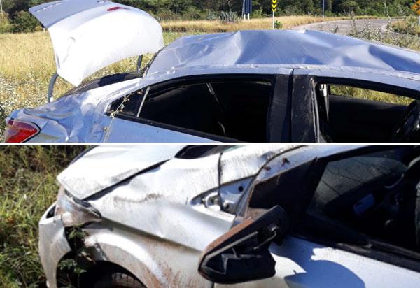 Brumado: cinco pessoas ficam feridas após carro capotar próximo a RHI Magnesita