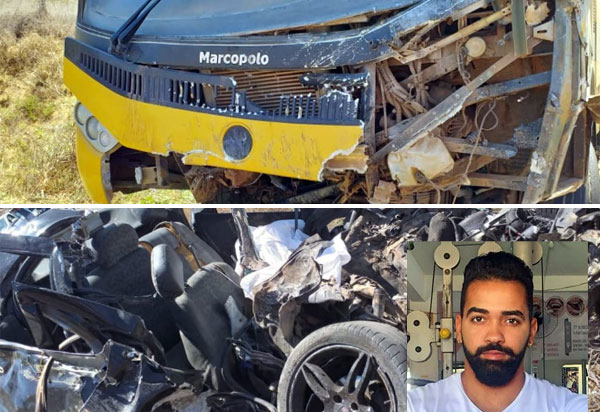 Tanhaçu: homem morre após carro que conduzia colidir contra ônibus que transportava alunos para prova do Enem