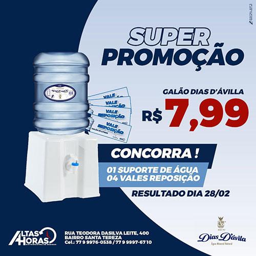 Altas Horas distribuidora: Água Mineral 20l por R$ 7,99