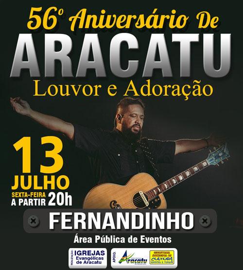 Cantor Gospel Fernandinho se apresenta hoje (13) em Aracatu