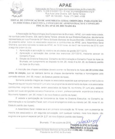 Brumado: Apae convoca associados  especiais e contribuintes  para assembleia geral ordinária