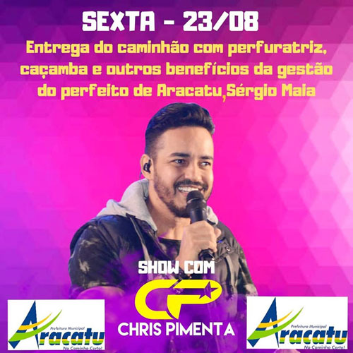 Aracatu: prefeitura entregará de máquina perfuratriz, caçamba e benefícios nesta sexta (23)