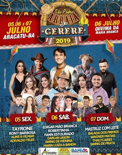 Aracatu: prefeitura divulga programação completa do do Arraiá do Gererê 2019