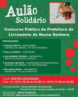 Livramento: Será realizado aulão solidário para o Concurso Público da Prefeitura