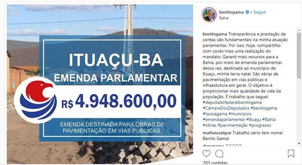 Ituaçu: Benito Gama divulga R$ 4,94 mi em emenda para o município, mas verba não consta nos dados
