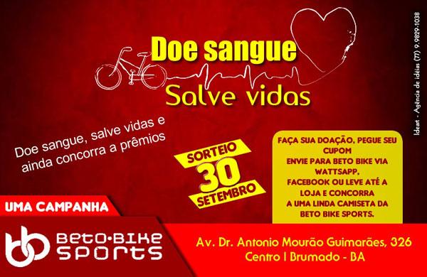 Beto Bike Sports lança campanha 'Doe Sangue, salve vidas'