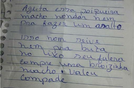 Ladrão abandona moto roubada e deixa carta de desprezo: 'porqueira'
