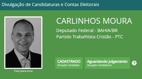 Eleições 2018: Carlinhos Moura tem candidatura a deputado federal registrada no TSE