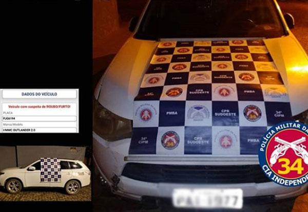 Polícia Militar apreende carro com restrição de furto/roubo em Contendas do Sincorá