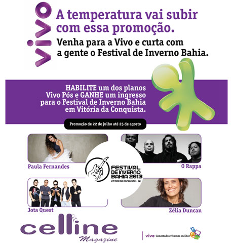 Habilite um plano Vivo Pós na Celline Magazine e ganhe um ingresso do Festival de Inverno Bahia