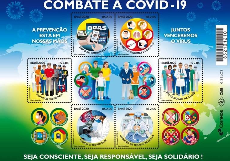 Correios lançam selos com temática de ações de combate à Covid-19
