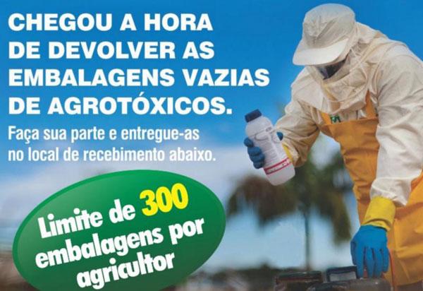 Recebimento itinerante de embalagens vazias de agrotóxicos acontecerá em Brumado amanhã (18)