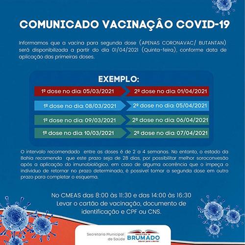 Brumado: Aplicação da 2ª dose de vacina contra Covid-19 será iniciada dia 1° de abril