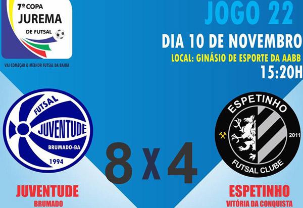 Copa Jurema de Futsal: O Juventude de Brumado venceu Espetinho Conquista por 8×4