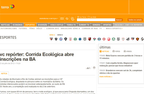 BRUMADO: PORTAL TERRA DESTACA CORRIDA ECOLÓGICA