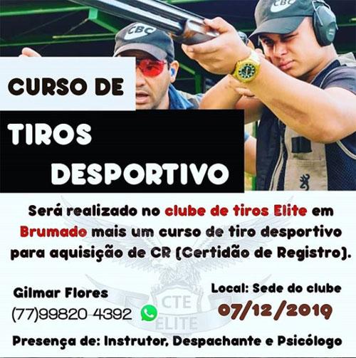 Brumado: dia 07 de dezembro será realizado curso de tiros para a aquisição de CR