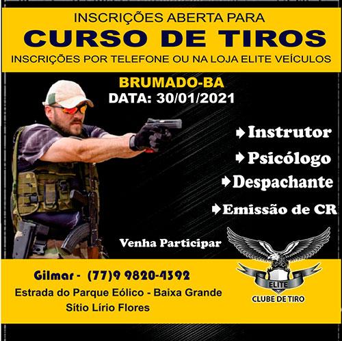 Brumado: Clube de Tiro Elite realiza dia 30 de janeiro Curso de Tiros