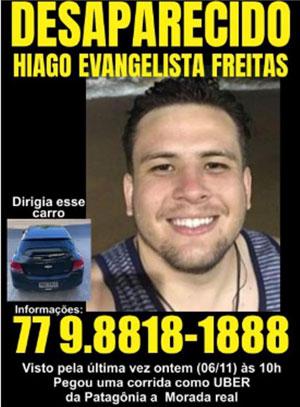 Guanambiense que estuda e trabalhar como Uber em Conquista está desaparecido
