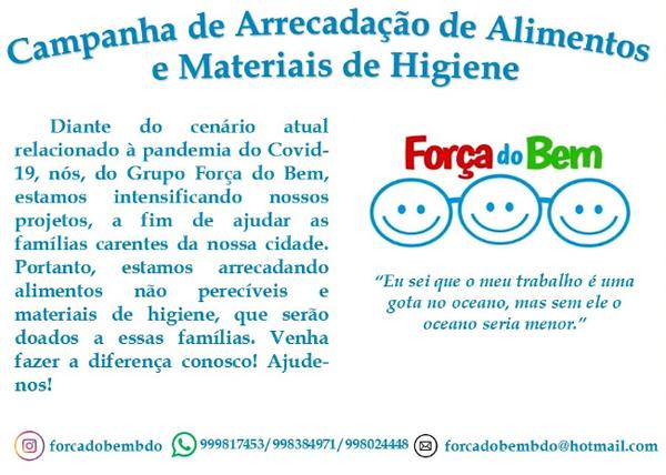Brumado: Grupo Força do Bem realiza campanha de arrecadação de alimentos e materiais de higiene