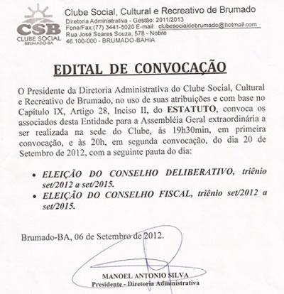CLUBE SOCIAL DE BRUMADO: EDITAL DE CONVOCAÇÃO
