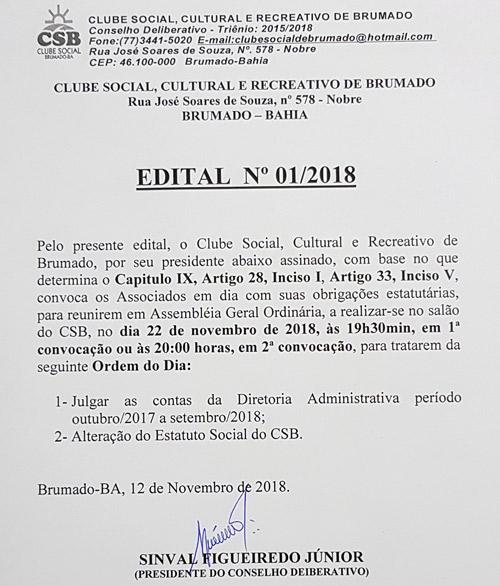 Clube Social de Brumado divulga Edital de Convocação 01/2018