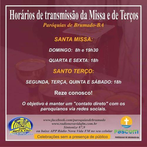 Brumado: confira os horários de transmissão da Missa e  Terços