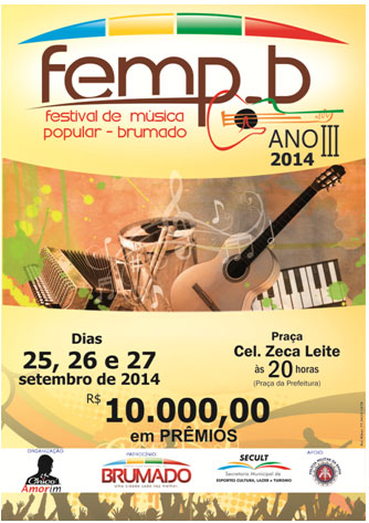 Festival de Música Popular - Brumado: Inscrições abertas até 28 de agosto