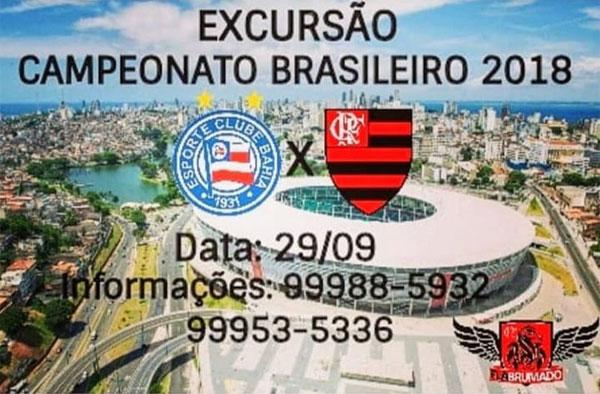 FLABRUMADO realizará excursão para jogo entre Flamengo e Bahia, em Salvador