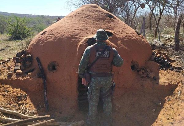 Operação do Inema com a Polícia Militar desmonta carvoaria ilegal em Presidente Jânio Quadros