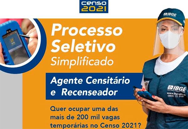 IBGE tem inscrições abertas para o Processo Seletivo do Censo 2021