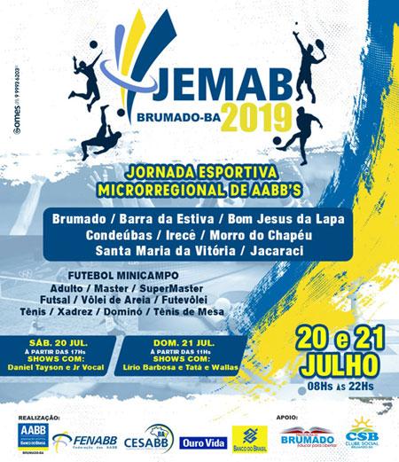 Acontece em Brumado 20 e 21 de Julho acontece na AABB a Jornada Esportivas Microrregional de AABBs