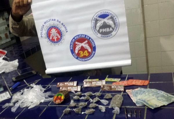 Brumado: homem é detido e menor de idade apreendido suspeitos de tráfico de drogas