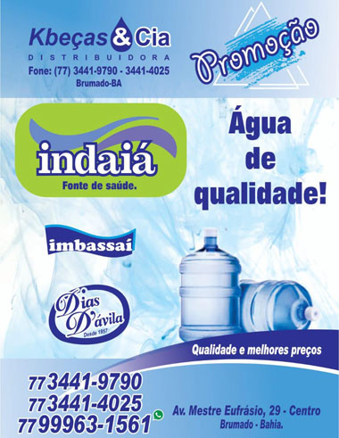 Brumado: encontre água mineral de qualidade em Kbeças & Cia distribuidora