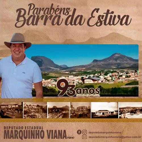 Deputado Marquinho Viana parabeniza Barra da Estiva pelos 93 anos de emancipação política