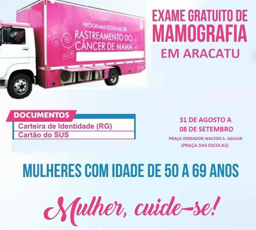 Aracatu: exames gratuitos de mamografia serão realizados de 31 de agosto a 08 de setembro