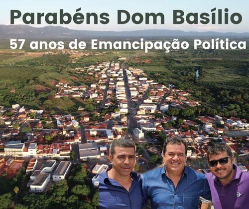 Deputado Marquinho Viana parabeniza Dom Basílio pelos 57 anos de emancipação política