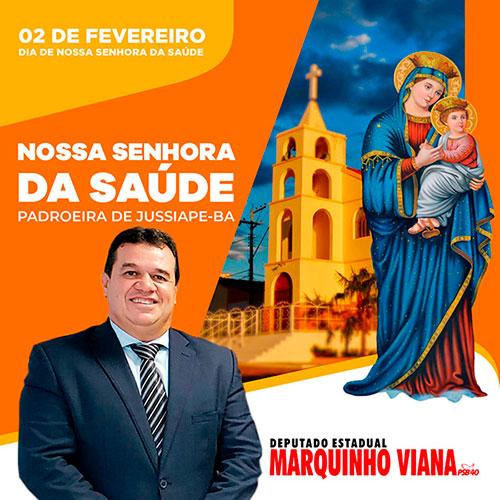 Deputado Marquinho Viana saúda Nossa Senhora da Saúde, padroeira de Jussiape