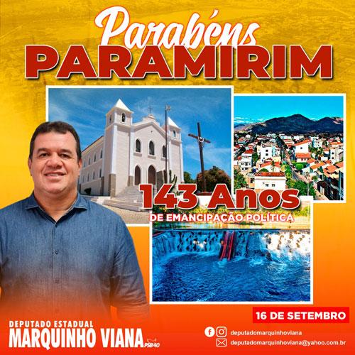 Deputado Marquinho Viana parabeniza Paramirim