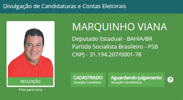 Eleições 2018: Marquinho Viana tem candidatura a reeleição registrada