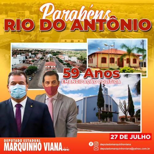 Deputado Marquinho Viana parabeniza Rio do Antônio pelos 59 anos de emancipação política