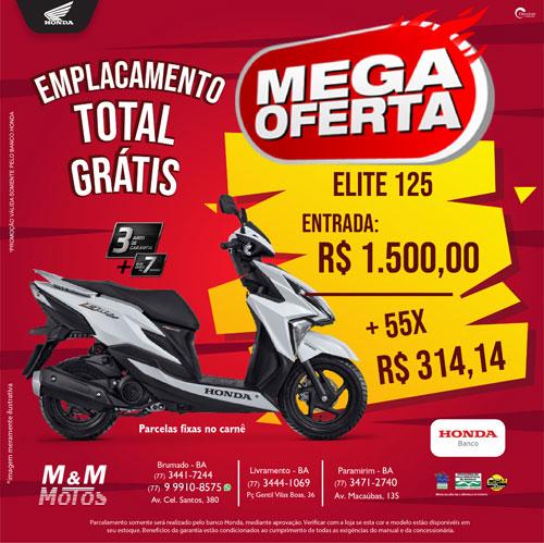 M & M Motos: moto Elite 125 com grande promoção e emplacamento grátis