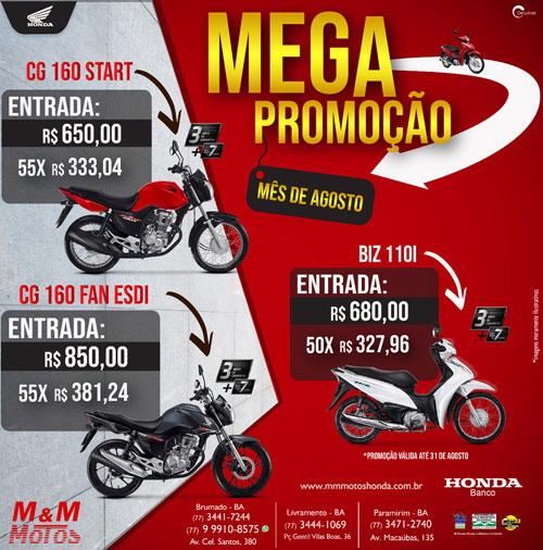 M & M Motos lança Mega Promoção de motos