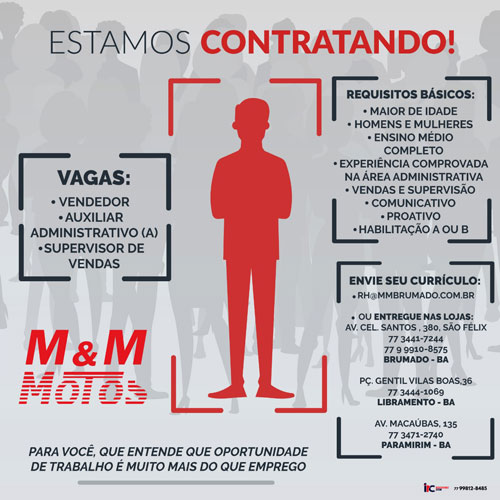 M & M Motos está contratando Vendedor, Auxiliar Administrativo  e Supervisor de Vendas