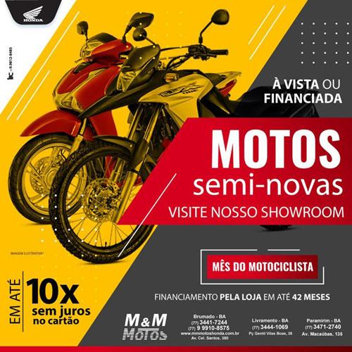 M & M Motos: adquira sua moto semi-nova, à vista ou financiada