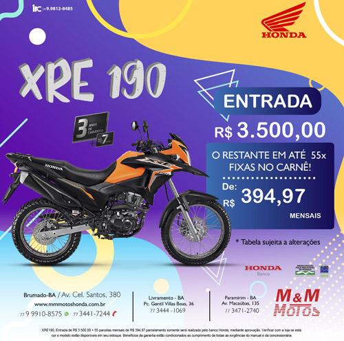 M & M Motos: condição imperdível para Honda XRE 190