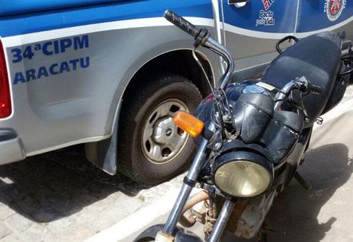 Aracatu: Polícia Militar recupera motocicleta roubada