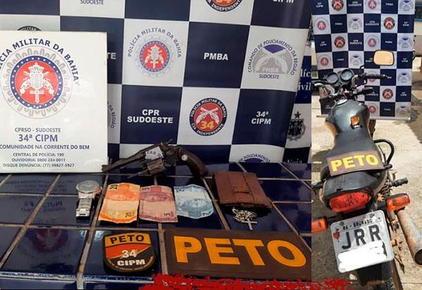 Brumado: Polícia Militar recupera moto roubada; acusado é detido com uma arma