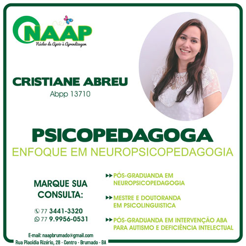 Brumado: Naap disponibiliza consulta com a Psicopedagoga Cristiane Abreu